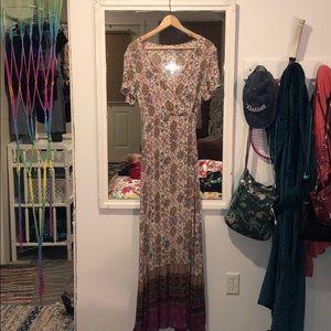 Maxi Wrap Dress Multi-Colored